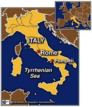 This map shows where Pompeii